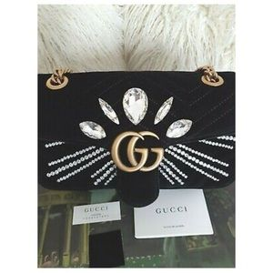 GUCCI GG MARMONT CRYSTAL-EMBELLISHED BAG Authentic